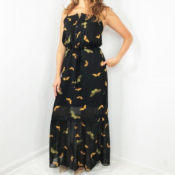 Kensie Dresses & Skirts - KENSIE Butterfly Black Maxi Dress Small